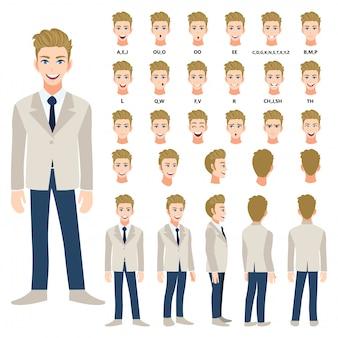 Мультипликационный персонаж с деловой человек в костюме для анимации. спереди, сбоку, сзади, несколько вид персонажа. отдельные части тела. плоские векторные иллюстрации