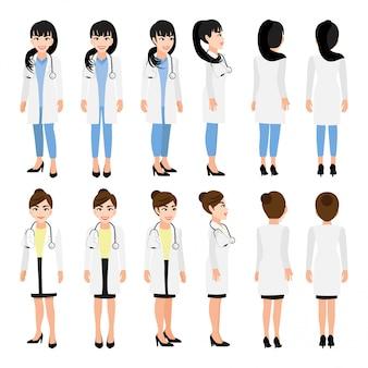 Женский доктор мультипликационный персонаж. спереди, сбоку, сзади несколько виден анимированный персонаж. плоские векторные иллюстрации