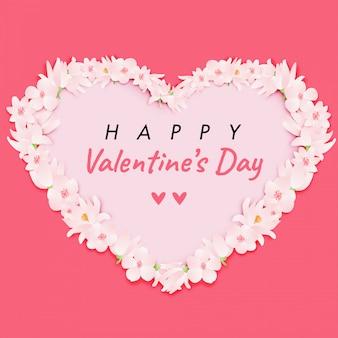 ピンクの花の結婚式の日にカップルが大好きです。バレンタインデーの漫画のキャラクター
