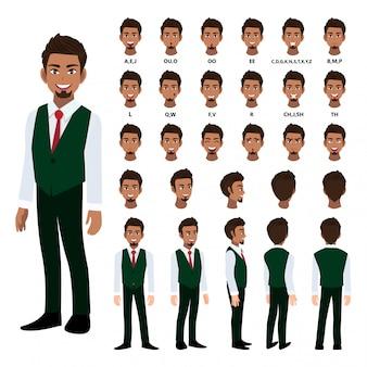 スマートシャツとアニメーションのチョッキのビジネスマンと漫画のキャラクター。