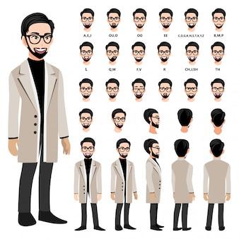 Мультипликационный персонаж с деловой человек в длинном пальто для анимации.