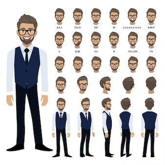 Мультипликационный персонаж с деловой человек в смарт-рубашку и жилет для анимации.
