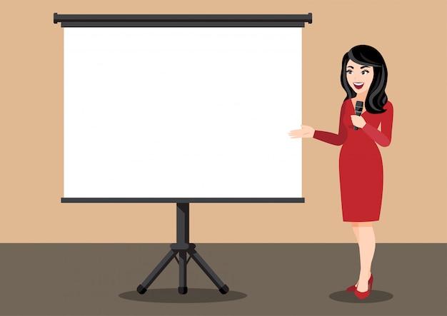プレゼンテーションで実業家と漫画のキャラクター。フラットアイコン