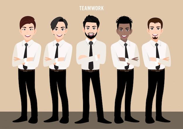 ビジネスチームセットまたはビジネスマンとリーダーシップの概念と漫画のキャラクター。漫画のスタイルのイラスト。