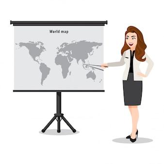 地図上の女性のプレゼンテーションと漫画のキャラクター。ポインターでマップを表示する教師または講師。フラット図