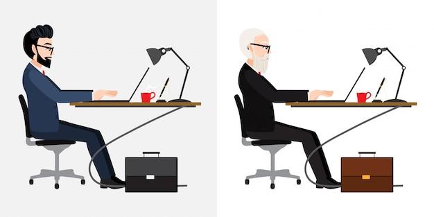 白い背景、イラストのビジネス人デスクと漫画のキャラクター