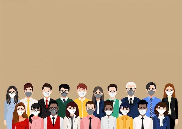 フェイスマスクや医療用マスク、大気汚染、汚染された空気、世界汚染を身に着けている人々と漫画のキャラクターは、病気、インフルエンザ、防毒マスク、コロナウイルスを防ぎます。