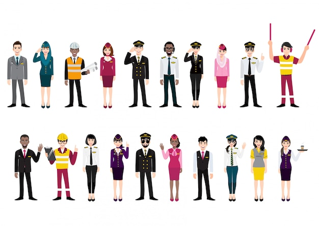 Группа позы экипажа аэропорта и команда профессиональных авиакомпаний международных работников на белом фоне. персонал авиакомпании. мультипликационный персонаж
