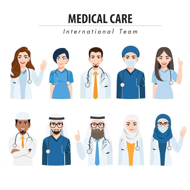 Мультипликационный персонаж с медицинской командой и персоналом