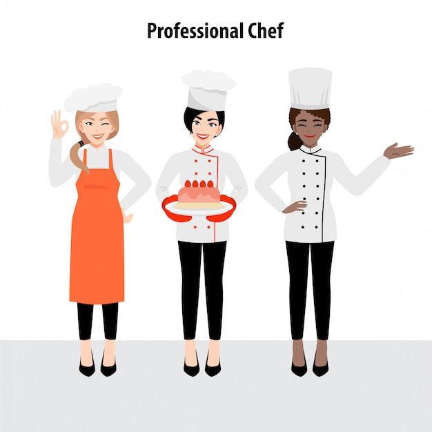 Мультипликационный персонаж с профессиональным шеф-поваром в форме, плоской иллюстрации