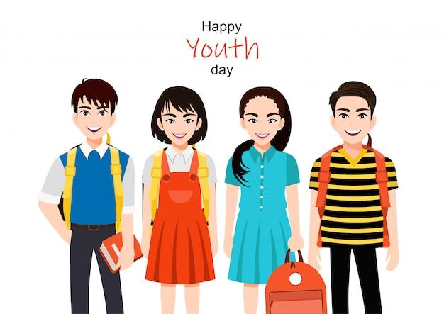 Счастливый день молодости с группой из мультфильма девочка и мальчик вектор