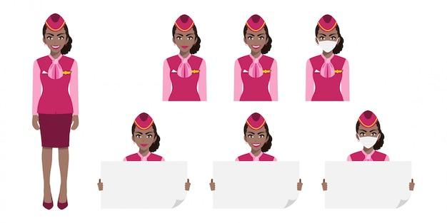 Мультипликационный персонаж с американской африканской стюардессой в розовой форме с улыбкой, медицинская маска и шаблон плаката. набор изолированных иллюстраций