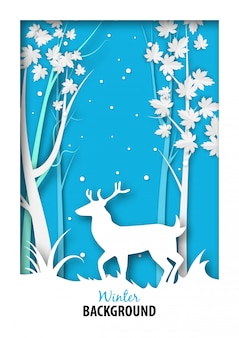 雪のジャングルと紙アートの白い鹿と冬の季節の背景