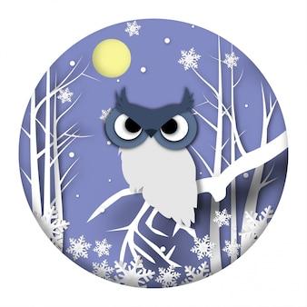 フクロウとペーパーアートデザインの冬季の背景
