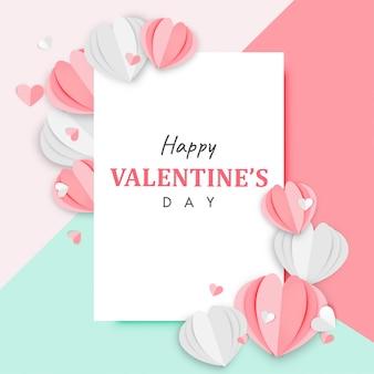 幸せなバレンタインデーの背景の紙アート