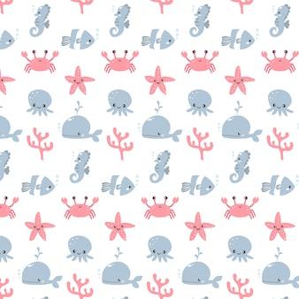 Симпатичный вектор аквариума животных шаблон дизайна мультфильма для девочки и мальчика
