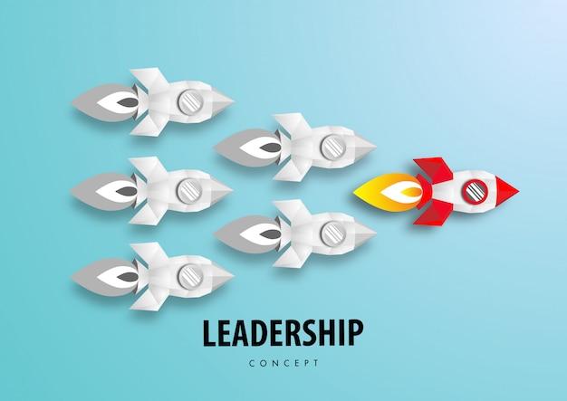 Концепция лидерства с вектором дизайна бумаги ракеты