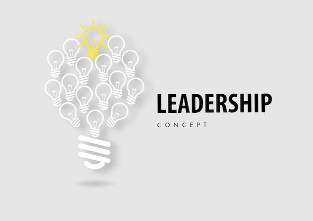 Концепция лидерства с линии значок бумаги вырезать стиль вектор