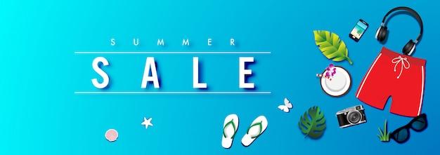Летняя распродажа фон с вектором летних аксессуаров