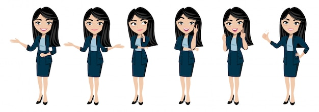 Мультипликационный персонаж с вектором молодой леди