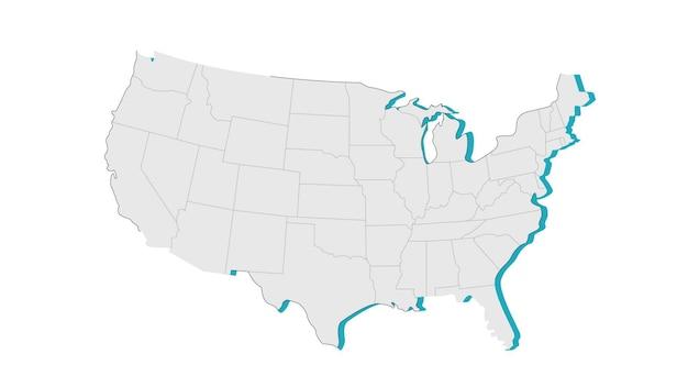 アメリカ地図分離ベクトル図