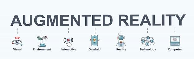 Дополненная реальность баннер веб-значок футуристические технологии.