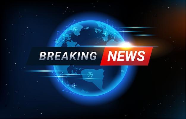 世界地図を背景にニュース速報の背景。現代の未来的なニューステンプレートのグローバル接続ラインと見出しバー。