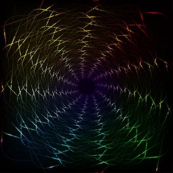 黒の背景上に分離されて流れる抽象的なカラフルな波線