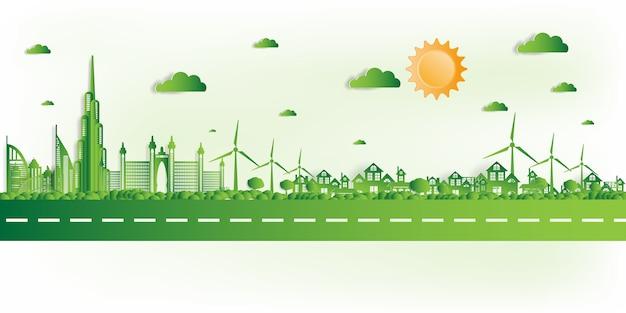 Иллюстрации. экологичный, зеленый город спасет мир,