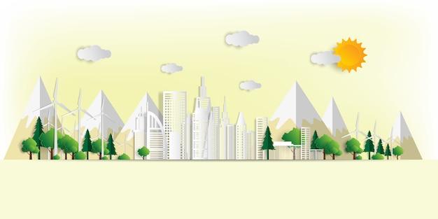 ベクトルイラスト。環境に優しいコンセプト、緑の都市が世界を救う、