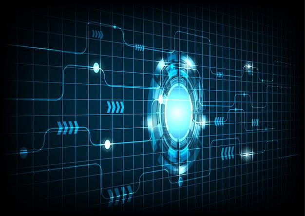 青い電子サイクルの背景を持つベクトル円と電気線
