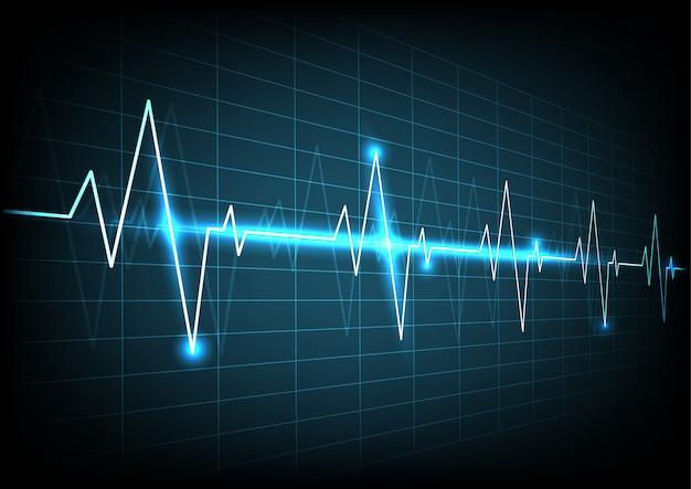 信号の背景を持つ青いハートパルスモニター