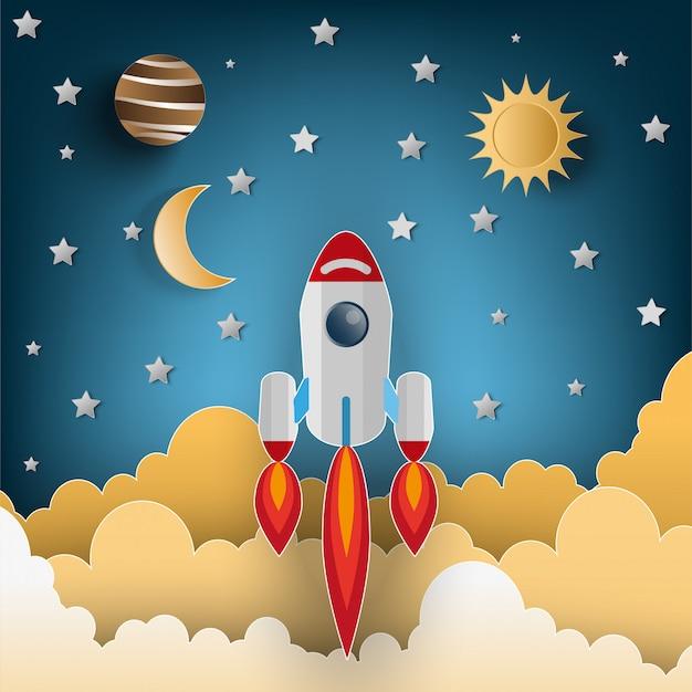 フラットスタイルのイラスト、空を飛んでいるロケットのペーパーアートスタイル。コンセプトを起動