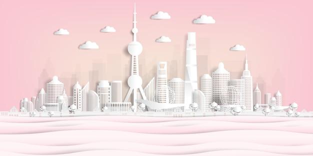 Панорама открытки и путешествия плакат всемирно известных достопримечательностей в стиле бумаги вырезать