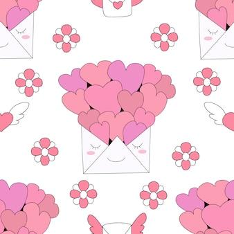シームレスパターンかわいい手紙漫画手描きスタイル。