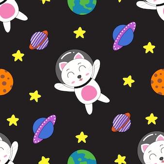 シームレスパターン漫画猫かわいい手描きスタイル