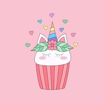 かわいいカップケーキユニコーンの漫画の手描きのスタイル。
