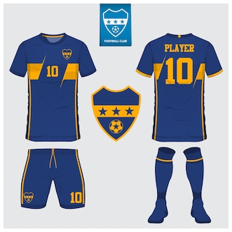 サッカージャージーまたはフットボールキットのテンプレートデザイン