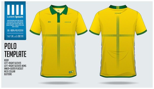 ブラジルチームサッカーポロシャツスポーツテンプレート