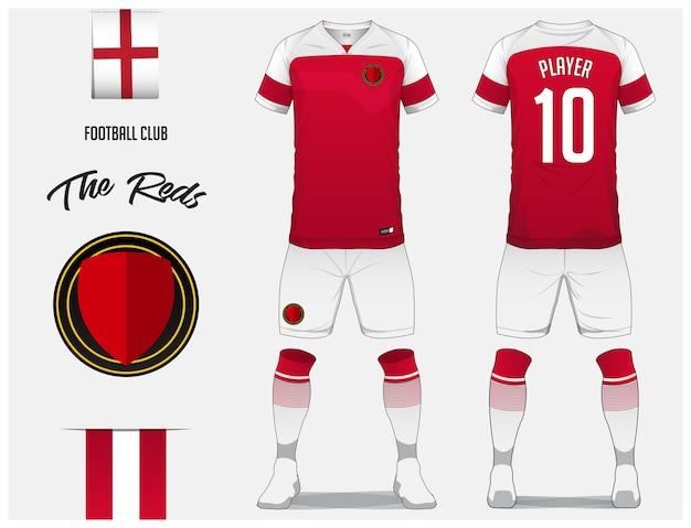 サッカーユニフォームまたはサッカーキットのテンプレート