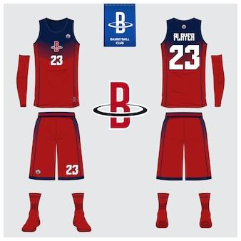 バスケットボールのユニフォームテンプレートデザイン。