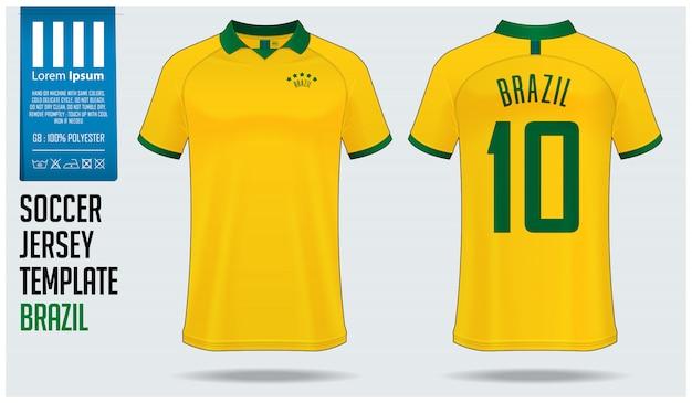 ブラジルサッカージャージーモックアップまたはフットボールキットテンプレート。