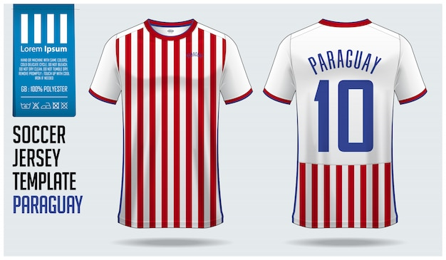 パラグアイサッカージャージーモックアップまたはフットボールキットテンプレート。