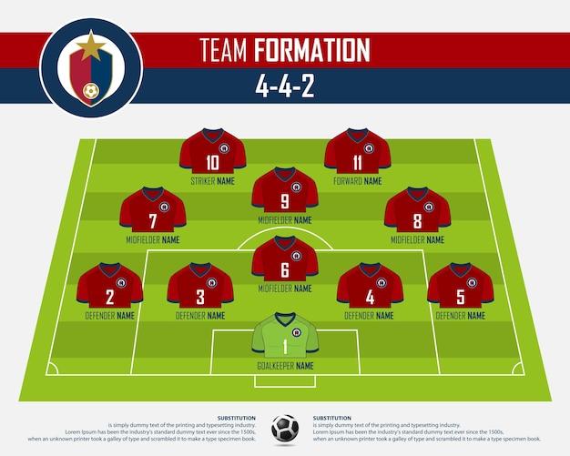 サッカーまたはサッカーの試合の形成インフォグラフィック