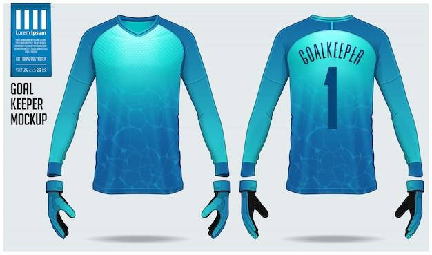 ゴールキーパージャージーやサッカーキットのモックアップテンプレートデザイン。