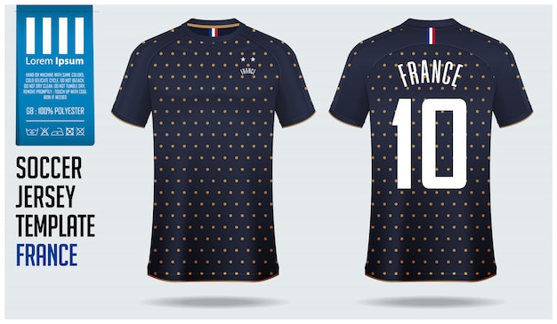 Франция футбол джерси макет или шаблон футбол комплект.
