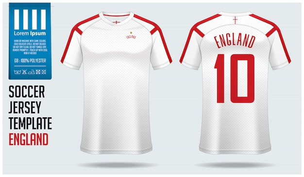 イングランドサッカージャージーモックアップまたはフットボールキットのテンプレート。