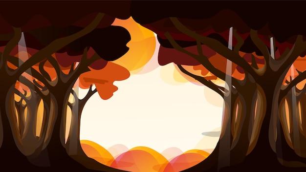 秋のジャングルとオレンジ色の雲