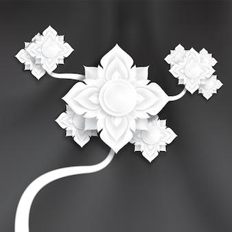 黒い曲線の滑らかなシルク生地の背景に抽象的な伝統的な紙の芸術の花