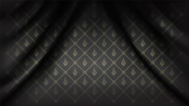 シルク生地の波のカーテンに伝統的な接続タイフローラパターン背景